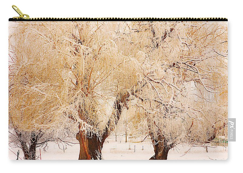 Trees Carry-all Pouch featuring the photograph Frosted Golden Trees by James BO Insogna