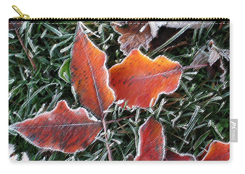 Leaves Fall Leaf Orange Red Nature Digital Art Carry-all Pouch featuring the photograph Frosted Leaves by Shari Jardina