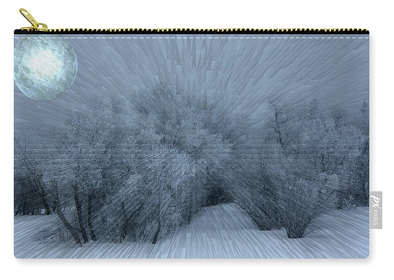 Moon Hoar Frost Trees Sky Winter Snow Cold Fog Lunar Carry-all Pouch featuring the photograph Frosted Moon by Andrea Lawrence
