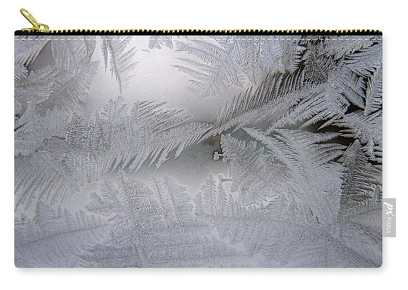Frost Carry-all Pouch featuring the photograph Frosted Pane by Rhonda Barrett