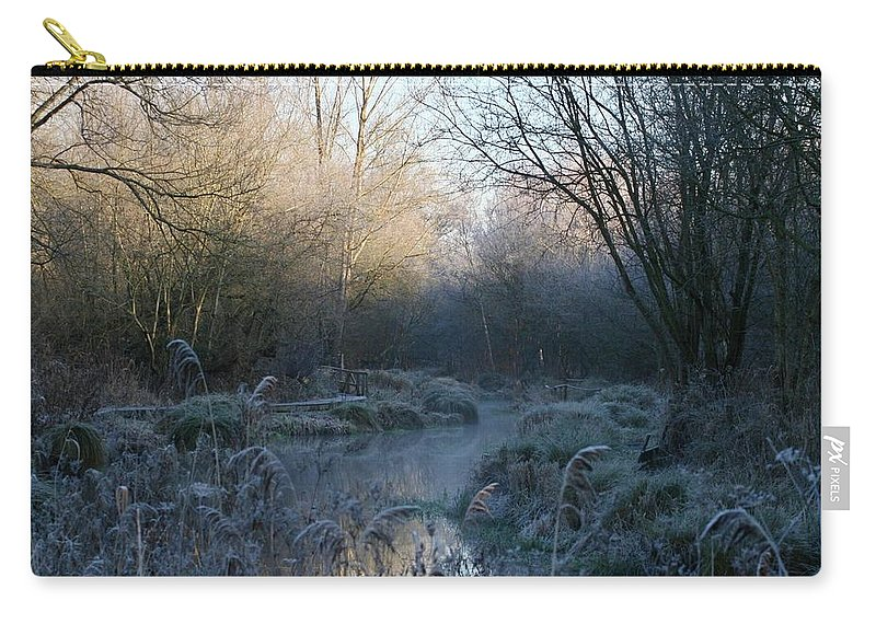 River Carry-all Pouch featuring the photograph Frosted Riverbank by Hannah Goddard-Stuart