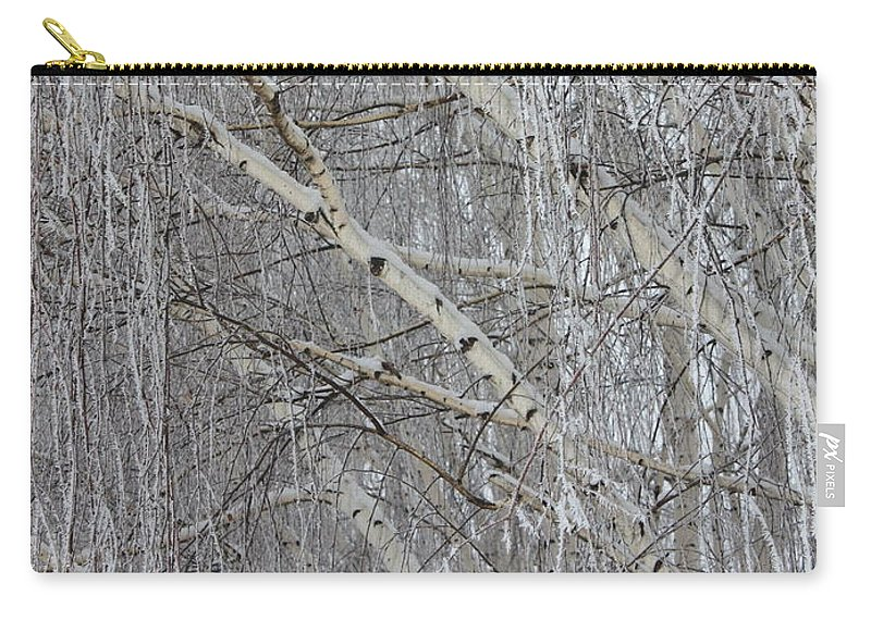 White Carry-all Pouch featuring the photograph Frosty Birch Tree by Carol Groenen
