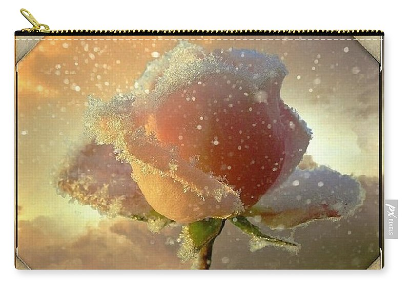 Rose Carry-all Pouch featuring the photograph Frosty by Ellen Cannon