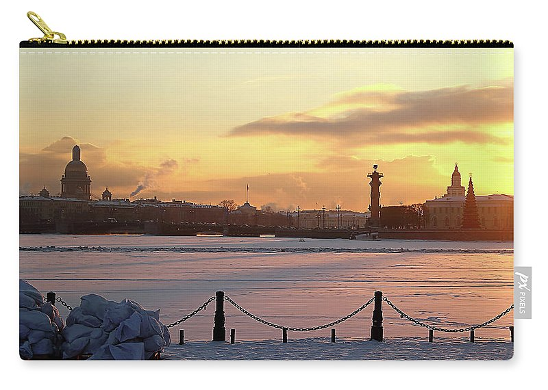 Mary Raven Carry-all Pouch featuring the photograph Frosty Evening In The City On The River by Mary Raven