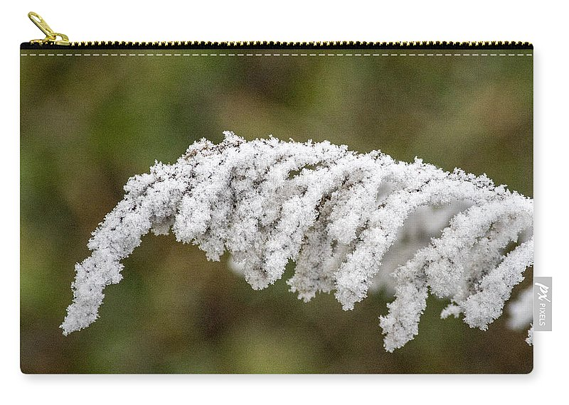 Frosty Carry-all Pouch featuring the photograph Frosty Frond by Douglas Barnett
