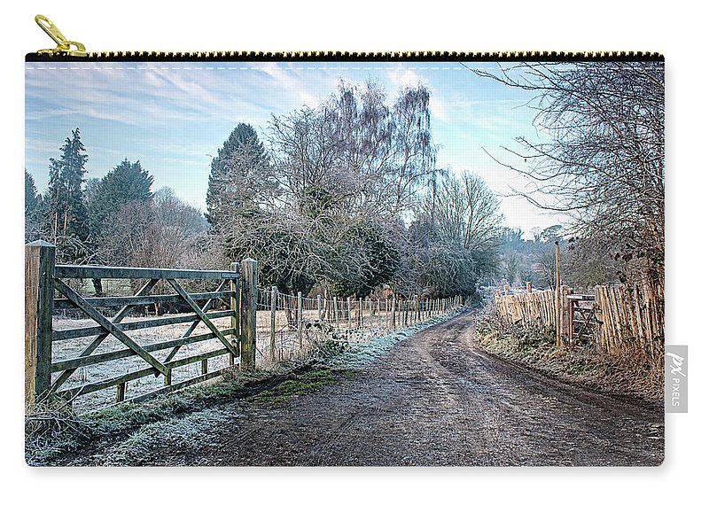 Loose Valley Carry-all Pouch featuring the photograph Frosty Lane by Dave Godden