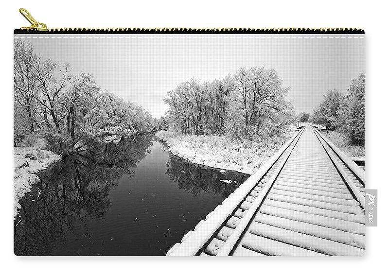 Fine Art Black And White Photography. Black And White Snow Photography.black And White Greeting Cards. Black And White Train Tracks Greeting Cards. Train Tracks In The Snow.black And White Infrared Photography. Black And White Photography. Carry-all Pouch featuring the photograph Frosty Morning On The Poudre by James Steele