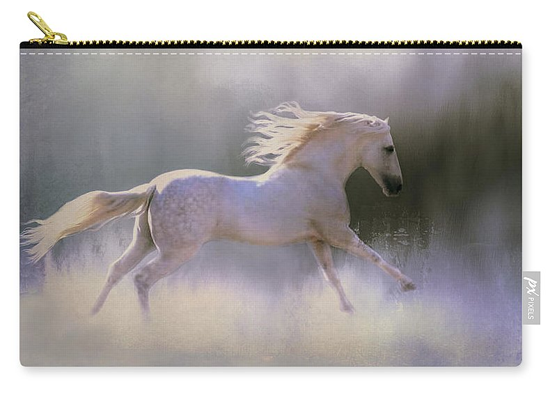 White Horse Carry-all Pouch featuring the photograph Frosty Turnout by Barbara Hymer