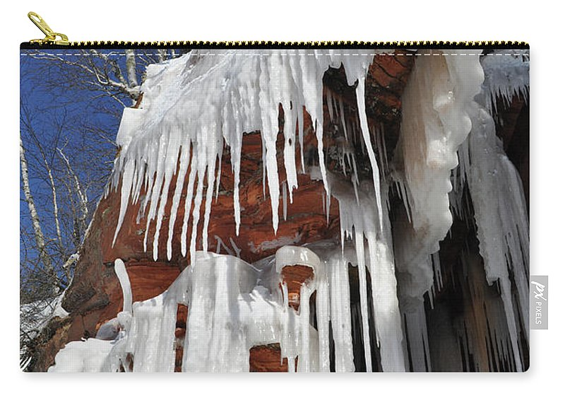 Apostle Islands National Lakeshore Carry-all Pouch featuring the photograph Frozen Apostle Islands National Lakeshore Portrait by Kyle Hanson