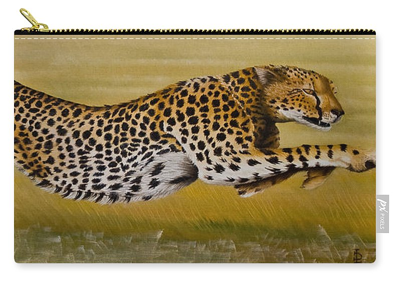 Cheetah Flying Run Speed Stretch Chase Carry-all Pouch featuring the painting Frozen At Full Charge by Pauline Sharp