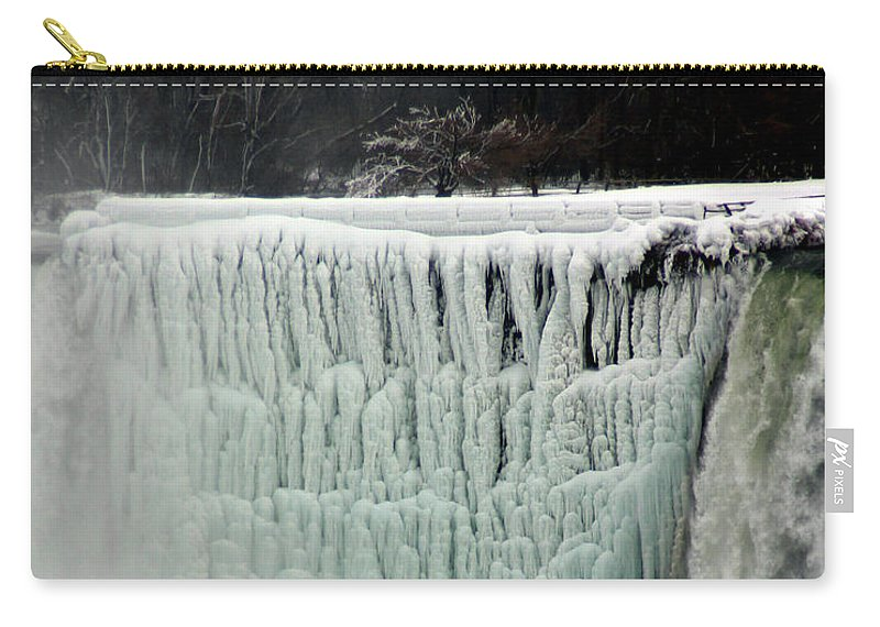 Landscape Carry-all Pouch featuring the photograph Frozen Falls by Anthony Jones