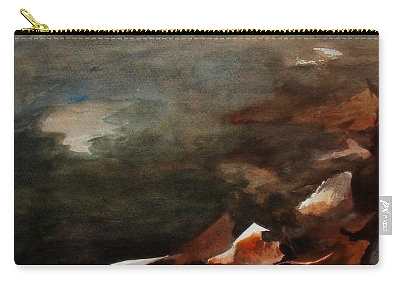 Landscape Carry-all Pouch featuring the painting Frozen Memories by Rachel Christine Nowicki
