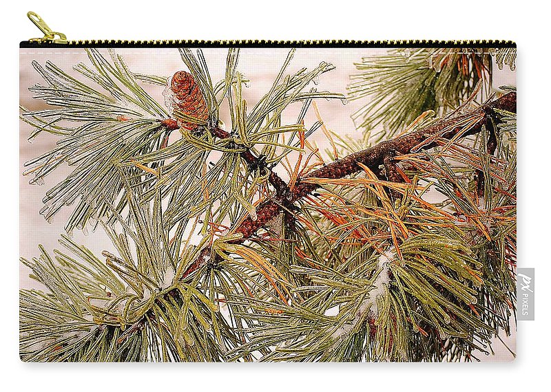 Frozen Carry-all Pouch featuring the photograph Frozen Pine by Frozen in Time Fine Art Photography