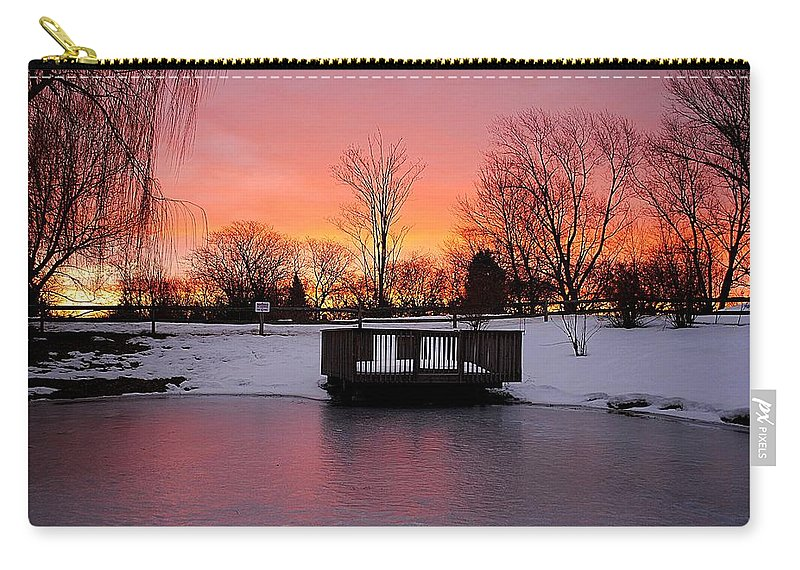 Sunrise Carry-all Pouch featuring the photograph Frozen Sunrise by Frozen in Time Fine Art Photography