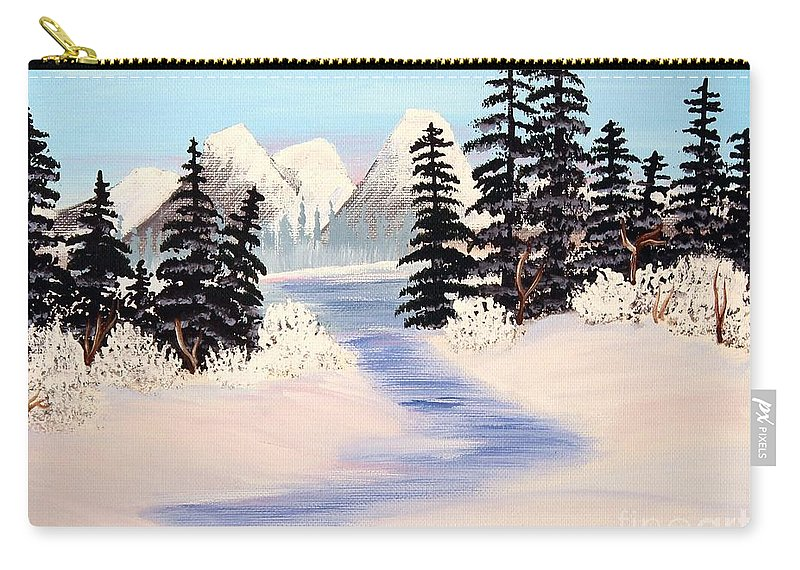 Frozen Tranquility Carry-all Pouch featuring the painting Frozen Tranquility by Barbara Griffin
