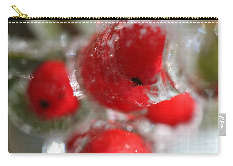Berries Carry-all Pouch featuring the photograph Frozen Winter Berries by Nadine Rippelmeyer