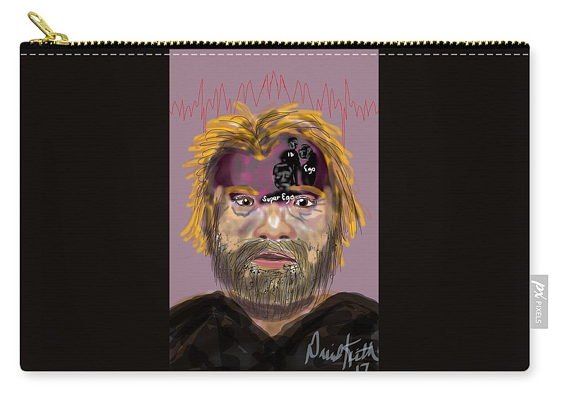 Brain Thought Sigmund Freud Psychology Mental Health Voices Carry-all Pouch featuring the digital art Fruedian Voices by David R Keith