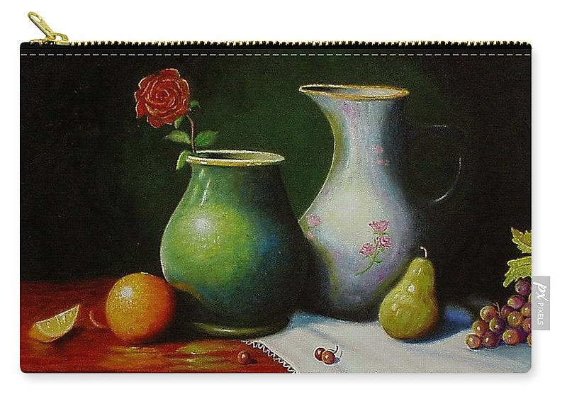Still Life Carry-all Pouch featuring the painting Fruit and pots. by Gene Gregory