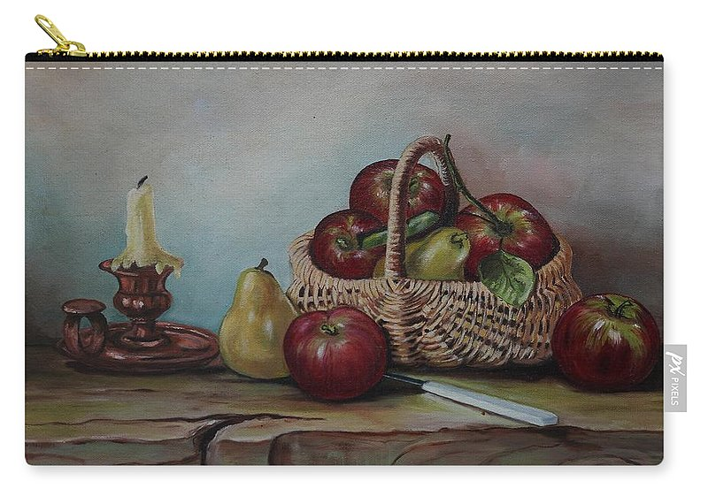 Fruit Basket Carry-all Pouch featuring the painting Fruit Basket - Lmj by Ruth Kamenev