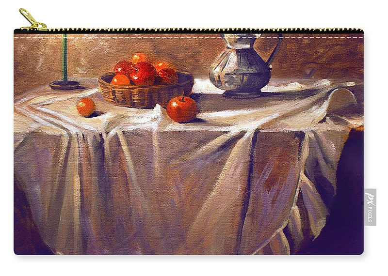 Still Life Carry-all Pouch featuring the painting Fruit by Candle Light by Nancy Griswold