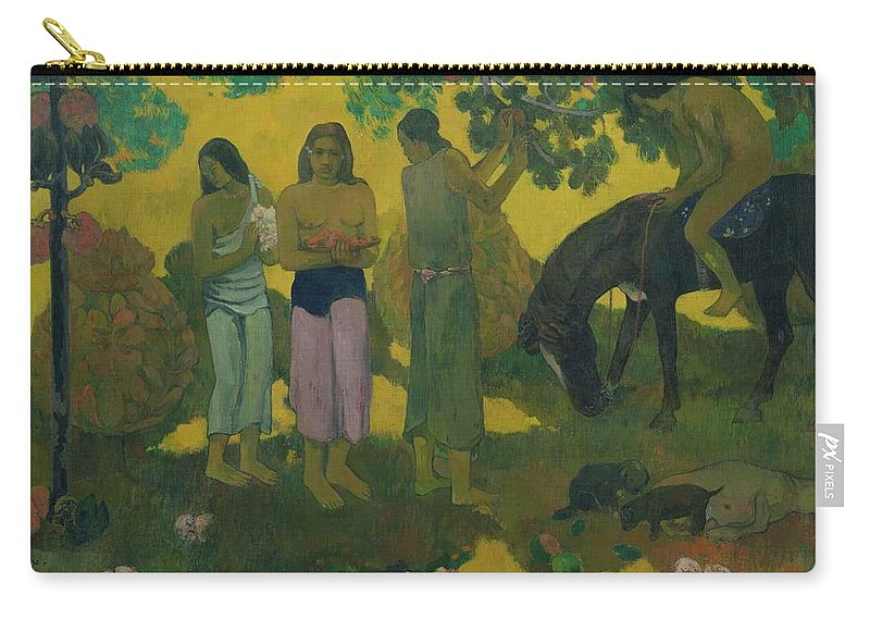 Rupe Rupe (fruit Gathering) Carry-all Pouch featuring the painting Fruit Gathering by Paul Gauguin