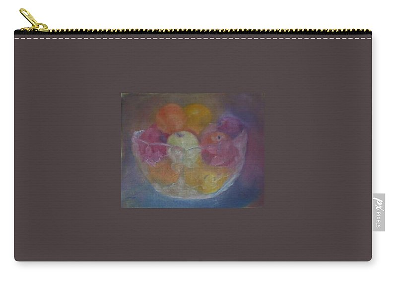 Still Life Carry-all Pouch featuring the painting Fruit In Glass Bowl by Sheila Mashaw