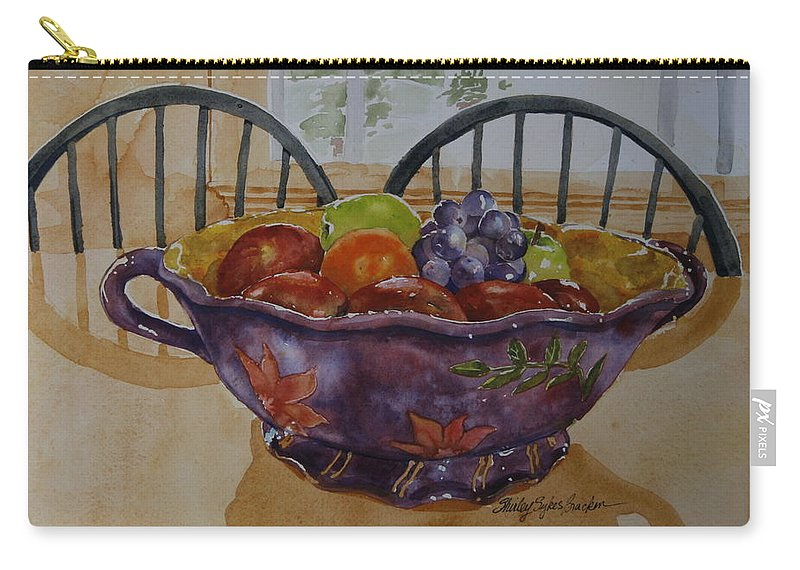 Fruit Carry-all Pouch featuring the painting Fruit On The Table by Shirley Sykes Bracken