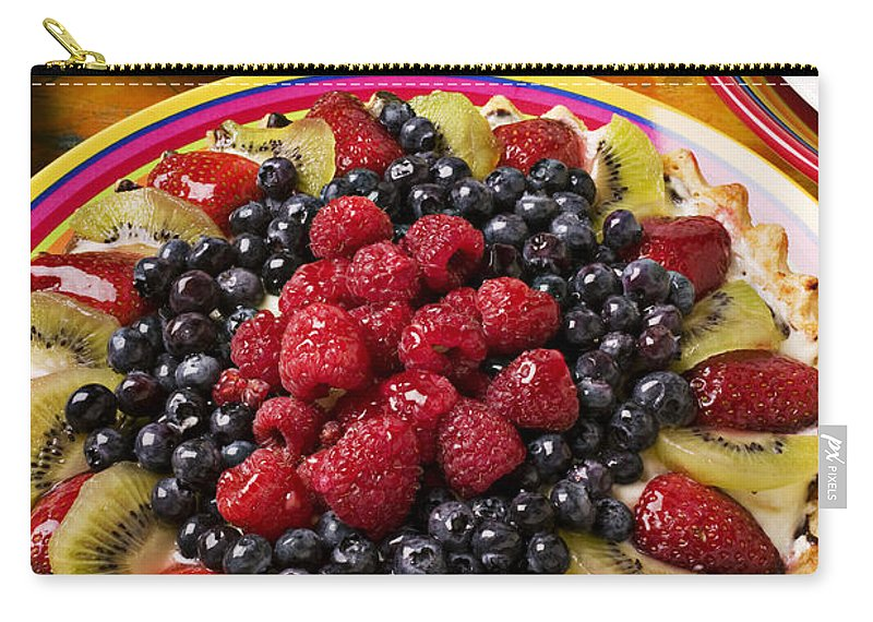Fruit Carry-all Pouch featuring the photograph Fruit Tart Pie by Garry Gay