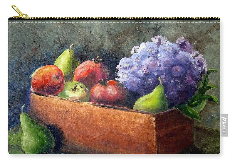 Hydrangea Carry-all Pouch featuring the painting Fruit With Hydrangea by Patricia Caldwell