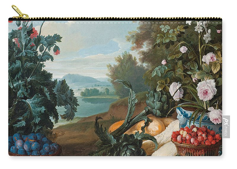 Alexandre-francois Desportes Carry-all Pouch featuring the painting Fruits Flowers And Vegetables In A Landscape by Alexandre-Francois Desportes
