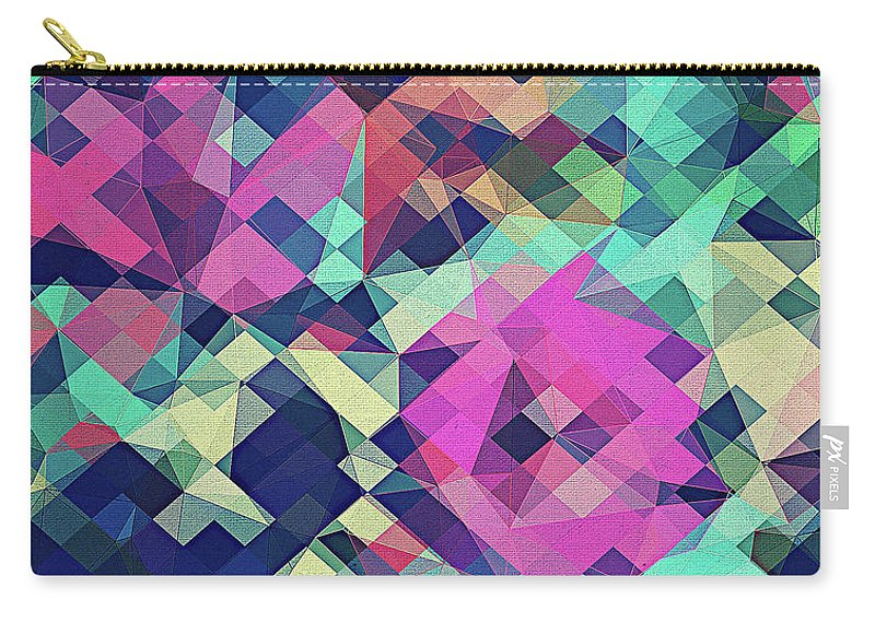 Abstract Carry-all Pouch featuring the digital art Fruity Rose  Fancy Colorful Abstraction Pattern Design Green Pink Blue by Philipp Rietz