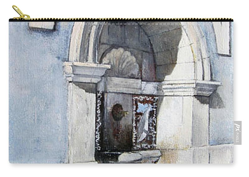 Fuente Carry-all Pouch featuring the painting Fuente Castro Urdiales by Tomas Castano