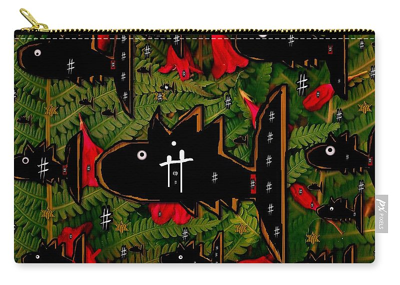 Collage Carry-all Pouch featuring the mixed media Fugi Sashi In The Deep Sea Of Japan by Pepita Selles