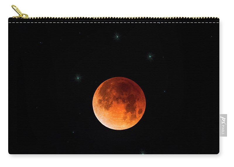 Blood Moon Carry-all Pouch featuring the photograph Blood Moon Eclipse 2018 by Saija Lehtonen