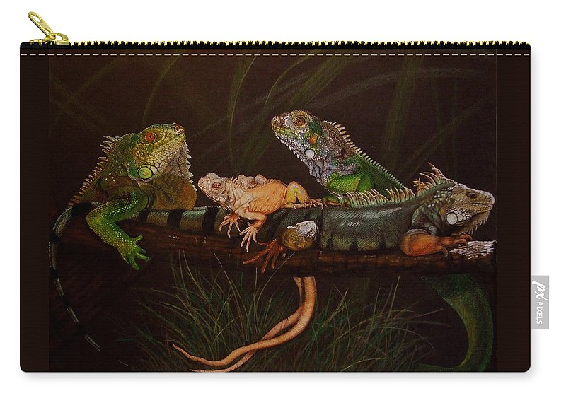 Iguana Carry-all Pouch featuring the drawing Full House by Barbara Keith
