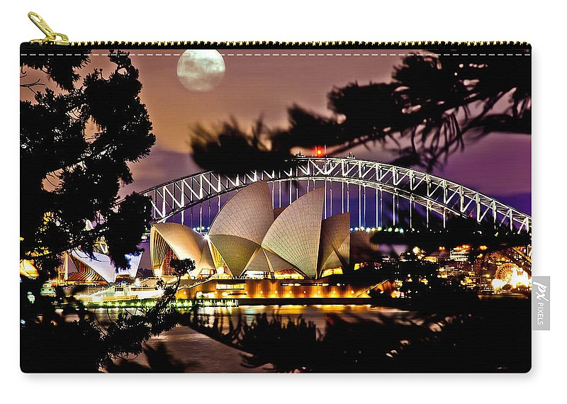 Sydney Carry-all Pouch featuring the photograph Full Moon Above by Az Jackson