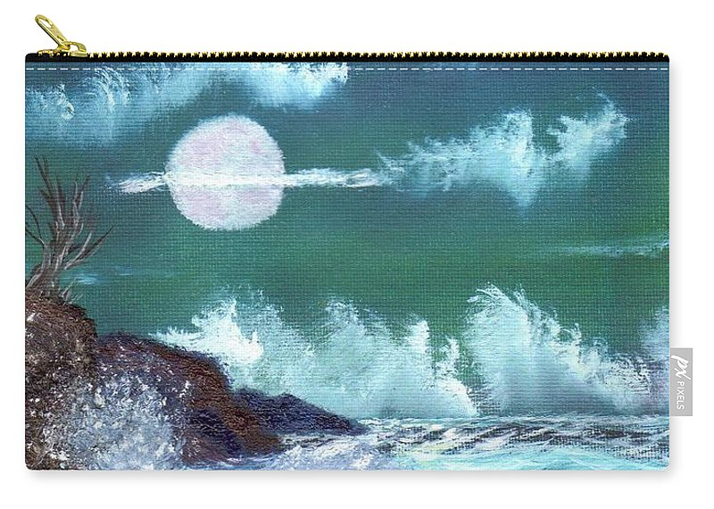 Full Moon Carry-all Pouch featuring the painting Full Moon At Sea by Jim Saltis