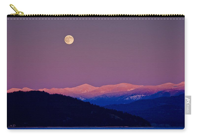 Moon Carry-all Pouch featuring the photograph Full Moon At Sunset - 091201a-3 by Albert Seger