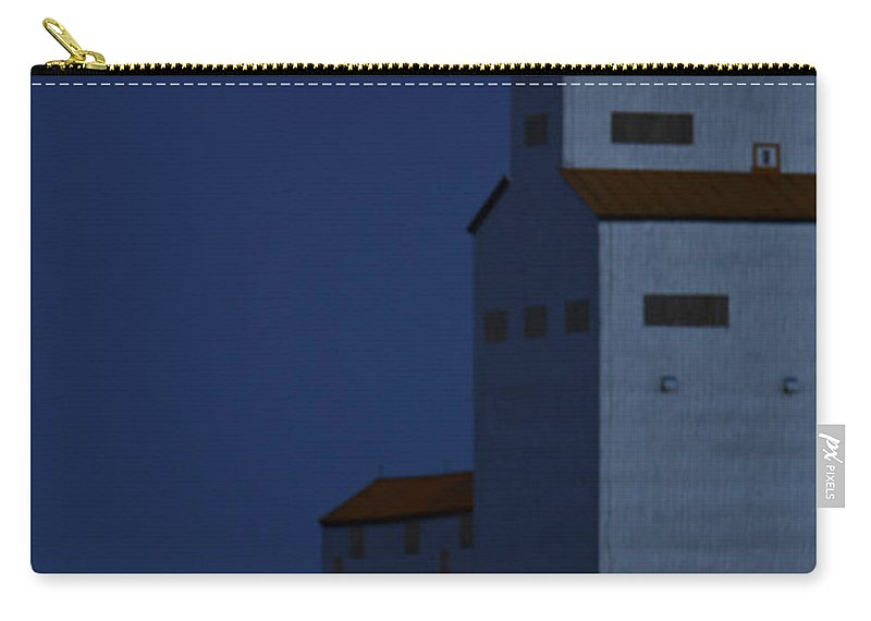 Full Moon Carry-all Pouch featuring the digital art Full Moon Behind Tuxford Grain Elevator by Mark Duffy