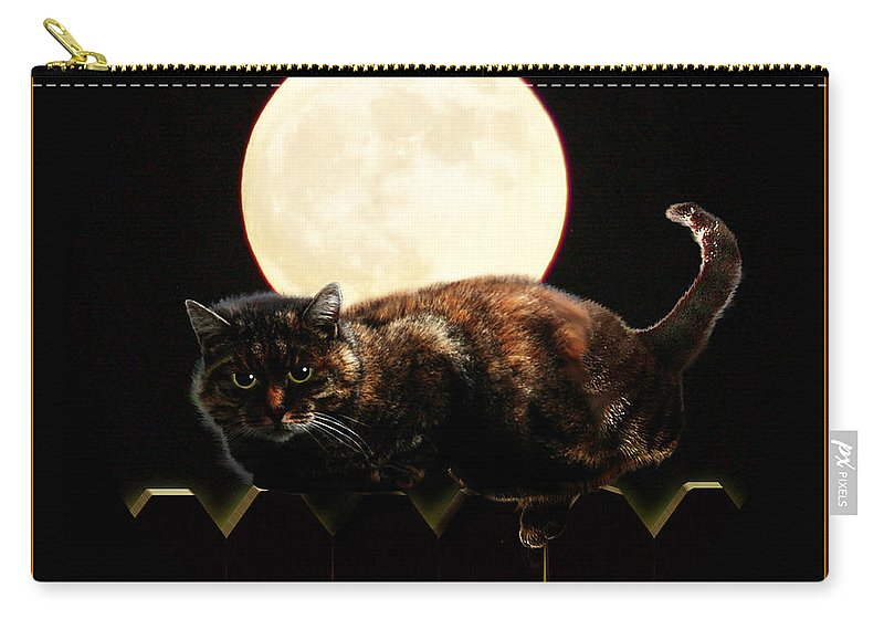 Carry-all Pouch featuring the mixed media Full Moon Cat by Gravityx9 Designs