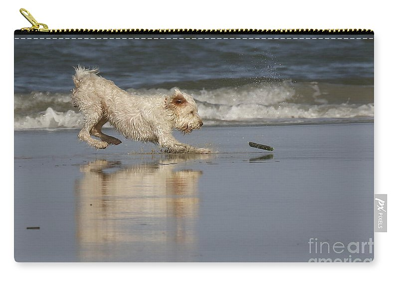 Animals Carry-all Pouch featuring the photograph Fun In The Surf by Myrna Bradshaw