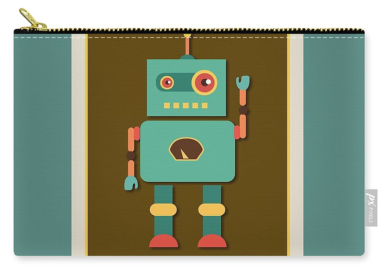 Retro Carry-all Pouch featuring the digital art Fun Retro Robot by Alondra Hanley