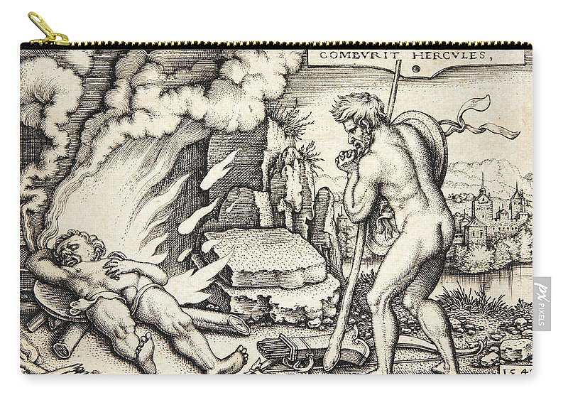 Sebald Beham Carry-all Pouch featuring the drawing Funeral Of Hercules by Sebald Beham
