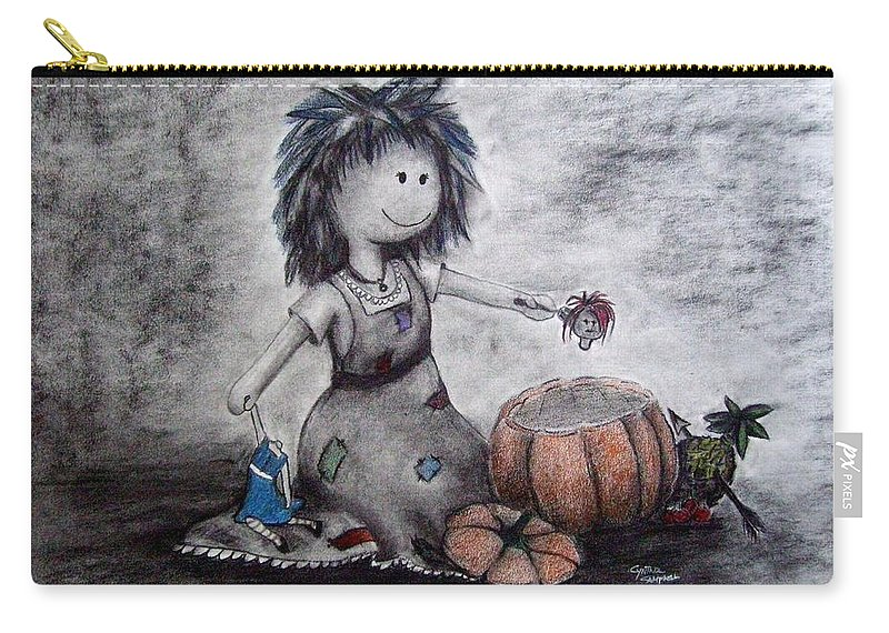 Ragdolls Carry-all Pouch featuring the drawing Funeral Of The Fake by Cynthia Campbell