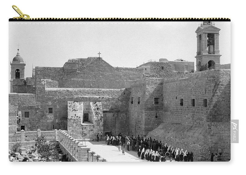 Bethlehem Carry-all Pouch featuring the photograph Funeral Procession In Bethlehem During 1934 by Munir Alawi