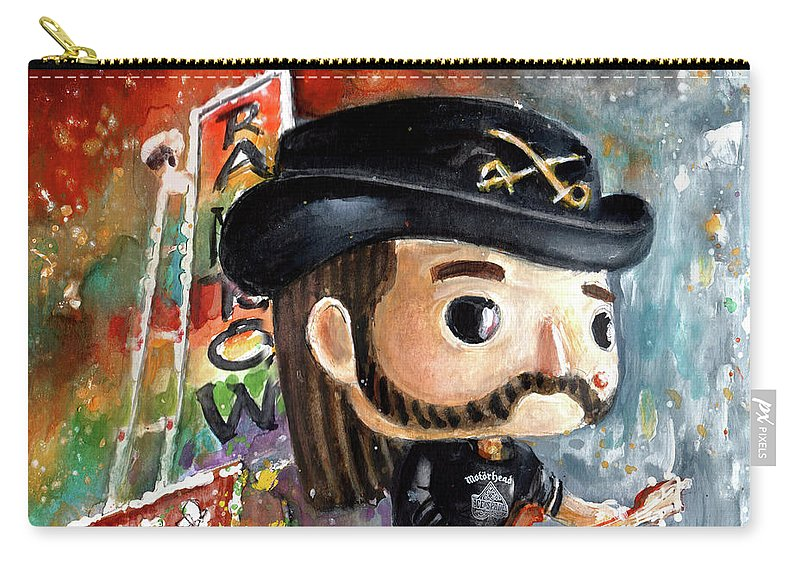 Funko Carry-all Pouch featuring the painting Funko Lemmy Kilminster Out To Lunch by Miki De Goodaboom