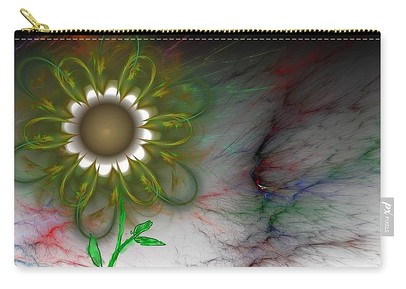 Digital Photography Carry-all Pouch featuring the digital art Funky Floral by David Lane