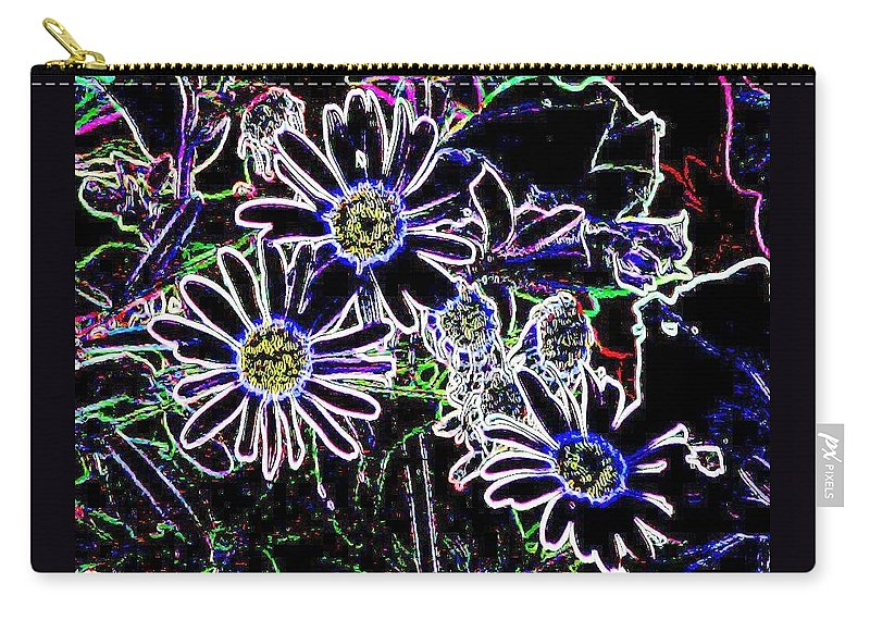Flowers Carry-all Pouch featuring the digital art Funky Flowers by Anita Burgermeister