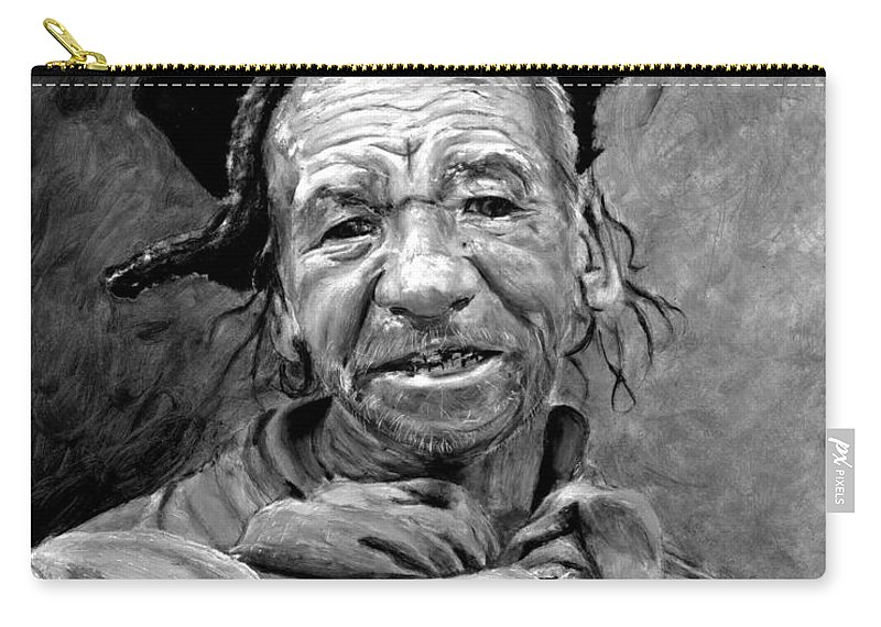 Man Carry-all Pouch featuring the painting Funky Hat by Portraits By NC
