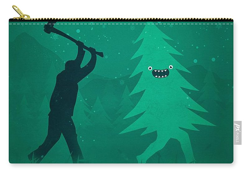 Cute Carry-all Pouch featuring the digital art Funny Cartoon Christmas tree is chased by Lumberjack Run Forrest Run by Philipp Rietz